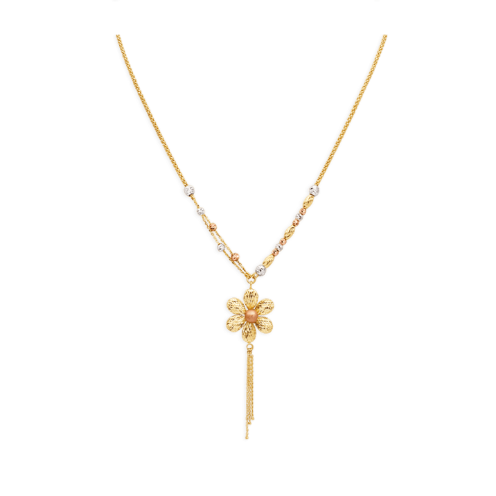 Bright Flower Necklace, Tricolor Gold